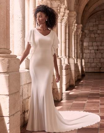 Maggie Sottero Adele Modest Flutter Sleeve Wedding Dress 21MW424 Main