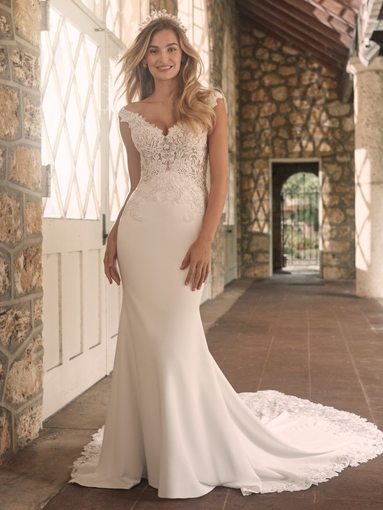 Maggie Sottero Antonella Sophisticated Crepe Sheath Bridal Dress 21MT416 Alt2