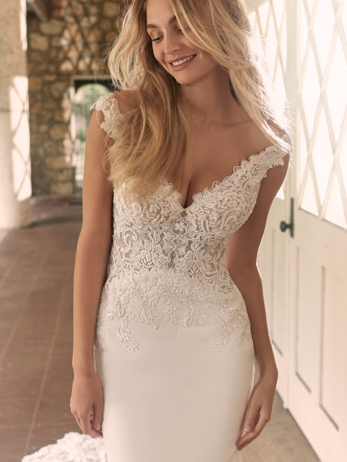 Maggie Sottero Antonella Sophisticated Crepe Sheath Bridal Dress 21MT416 Main