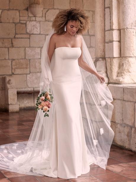 Maggie Sottero Bayler Minimalist Strapless Sheath Bridal Dress 21MC432 Main