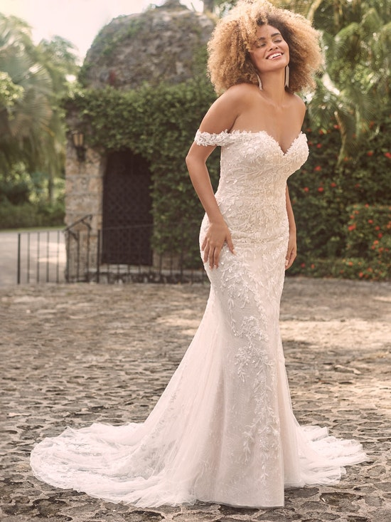 Maggie Sottero Charmaine Off-the-Shoulder Nature-Inspired Bridal Gown 21MK371 Main