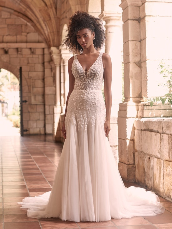 Maggie Sottero Geneva Nature-Inspired Lace Fit-and-Flare Wedding Dress 21MZ401 Alt1