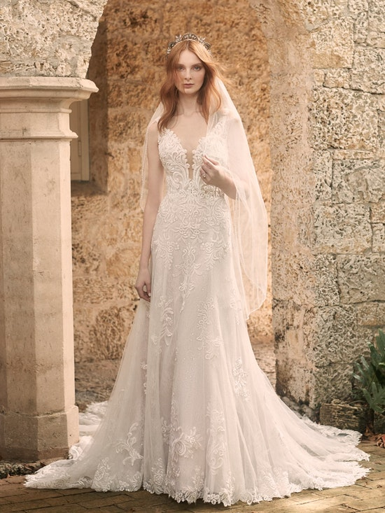 Maggie Sottero Johanna Illusion Lace Sleeve A-line Wedding Gown 21MS349 Alt1
