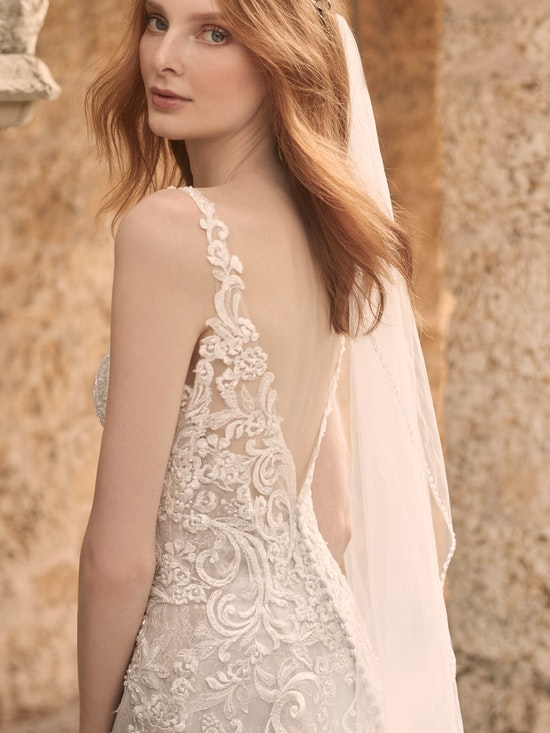 Maggie Sottero Johanna Illusion Lace Sleeve A-line Wedding Gown 21MS349 Alt3