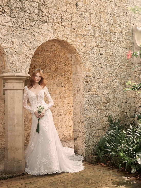 Maggie Sottero Johanna Illusion Lace Sleeve A-line Wedding Gown 21MS349 Alt4