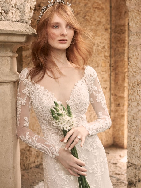 Maggie Sottero Johanna Illusion Lace Sleeve A-line Wedding Gown 21MS349 Alt6