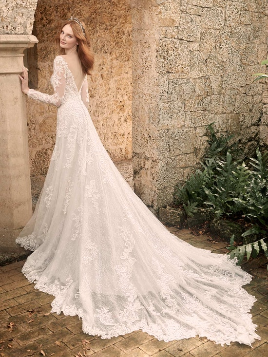Maggie Sottero Johanna Illusion Lace Sleeve A-line Wedding Gown 21MS349 Alt7
