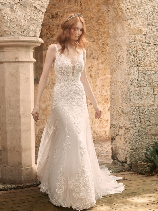 Maggie Sottero Johanna Illusion Lace Sleeve A-line Wedding Gown 21MS349 Alt8