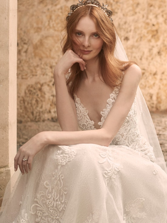 Maggie Sottero Johanna Illusion Lace Sleeve A-line Wedding Gown 21MS349 Alt9