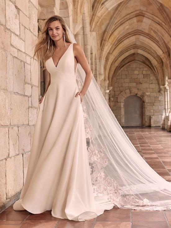 Maggie Sottero Josephine Minimalist Crepe A-line Wedding Dress 21MW374 Alt1