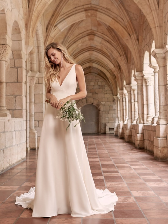 Maggie Sottero Josephine Minimalist Crepe A-line Wedding Dress 21MW374 Alt3