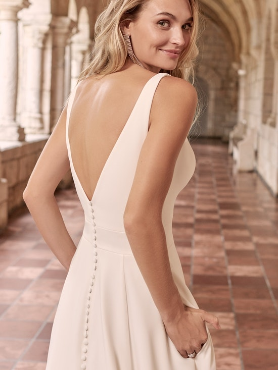 Maggie Sottero Josephine Minimalist Crepe A-line Wedding Dress 21MW374 Alt4