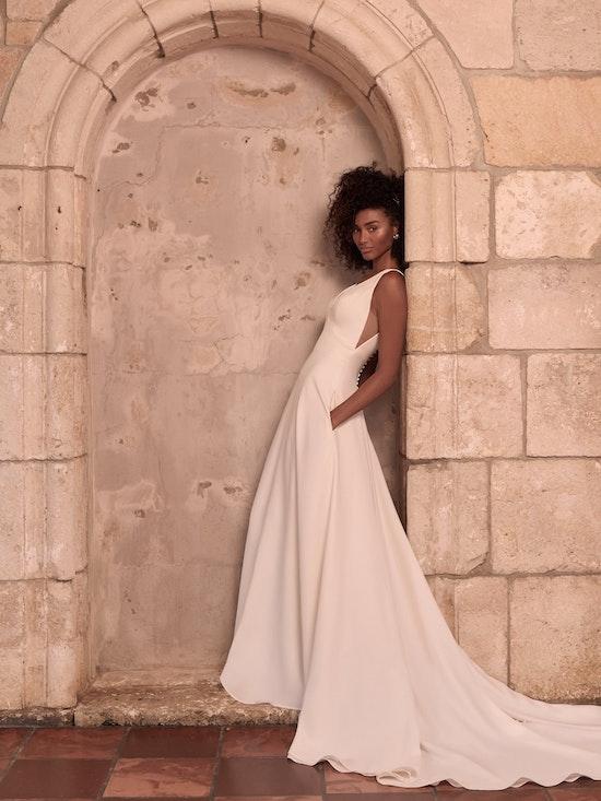 Maggie Sottero Josephine-Lynette Minimalist Crepe A-line Wedding Dress 21MW374B Alt1