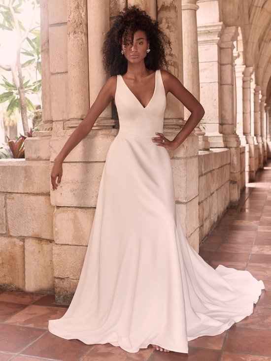 Maggie Sottero Josephine-Lynette Minimalist Crepe A-line Wedding Dress 21MW374B Alt5