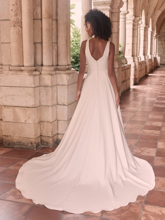 Maggie Sottero Josephine-Lynette Minimalist Crepe A-line Wedding Dress 21MW374B Alt6