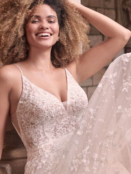 Maggie Sottero Lorenza Floral Boho A-line Wedding Dress 21MT411 Alt3