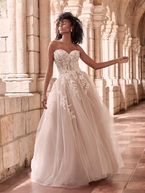 Maggie Sottero Orlanda Strapless Floral Princess Wedding Dress 21MW359 Alt1