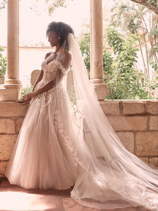 Maggie Sottero Orlanda Strapless Floral Princess Wedding Dress 21MW359 Alt3