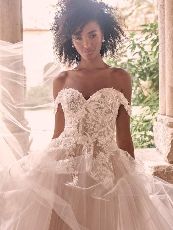 Maggie Sottero Orlanda Strapless Floral Princess Wedding Dress 21MW359 Alt4