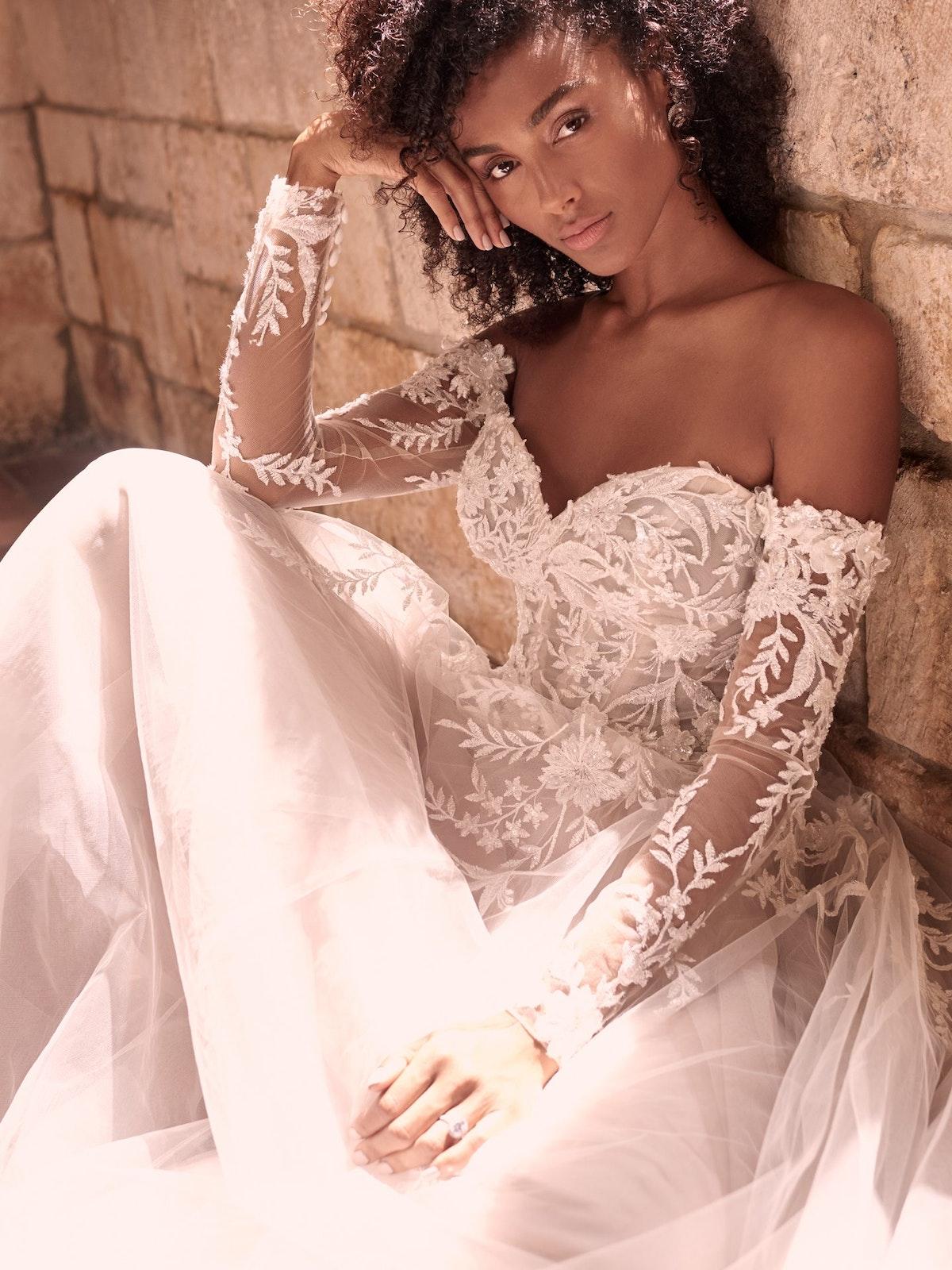 Maggie Sottero Orlanda Strapless Floral Princess Wedding Dress 21MW359 Main