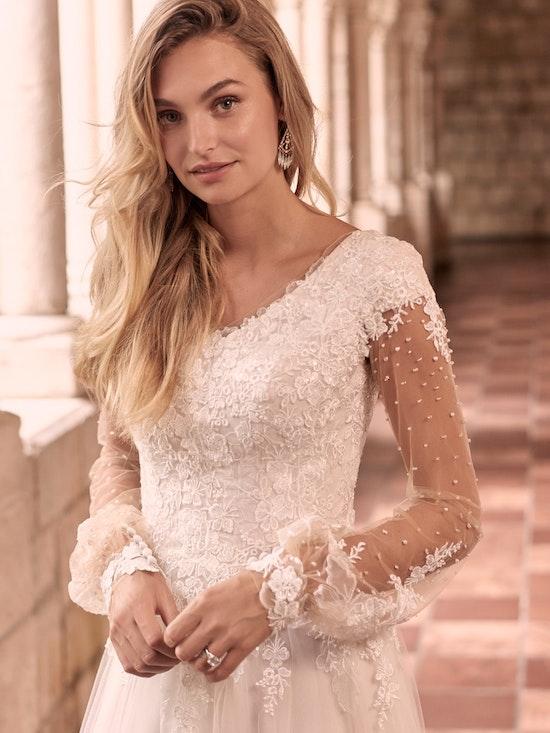 Maggie Sottero Pamela-Leigh Modest Illusion Bishop Sleeve Wedding Dress 21MS353 Alt1