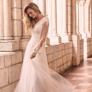 Maggie Sottero Pamela-Leigh Modest Illusion Bishop Sleeve Wedding Dress 21MS353 Main