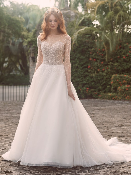 Maggie Sottero Rosette Pearl Long Sleeve Ball Gown Wedding Dress 21MS356 Main