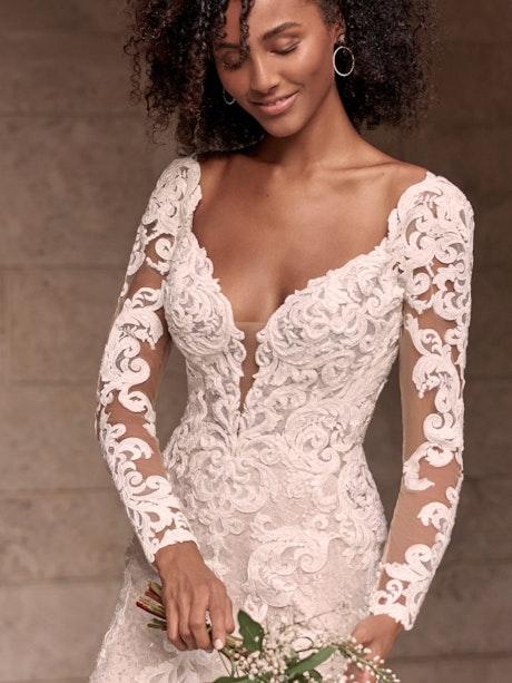 Maggie Sottero Tuscany-Royale Sparkly Lace Sheath Bridal Dress 21MS347 Alt5