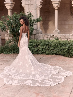 Maggie Sottero Tuscany-Royale Sparkly Lace Sheath Bridal Dress 21MS347 Alt7