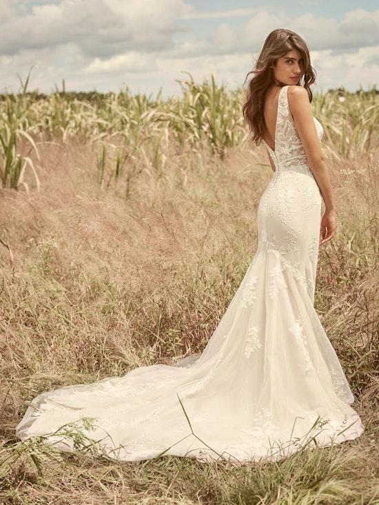 Rebecca Ingram Angie Illusion V-back Sheath Wedding Dress 21RT377 Alt3