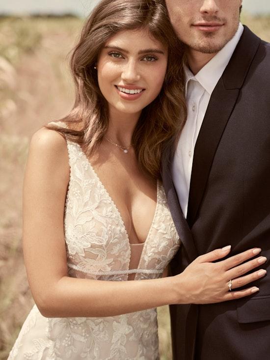 Rebecca Ingram Angie Illusion V-back Sheath Wedding Dress 21RT377 Alt5