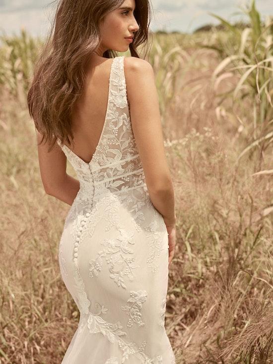 Rebecca Ingram Angie Illusion V-back Sheath Wedding Dress 21RT377 Alt6