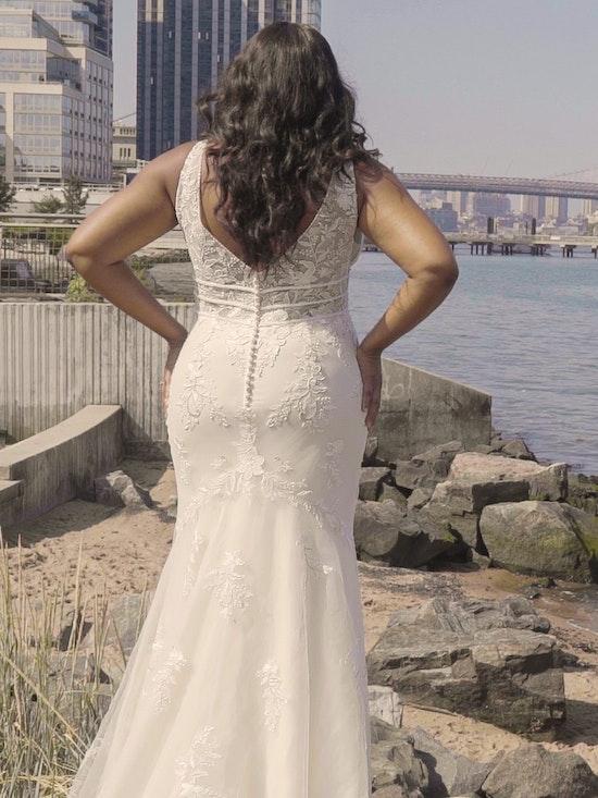 Rebecca Ingram Angie Illusion V-back Sheath Wedding Dress 21RT377 Curve-Alt9