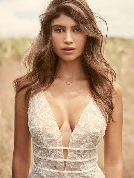 Rebecca Ingram Angie Illusion V-back Sheath Wedding Dress 21RT377 Main