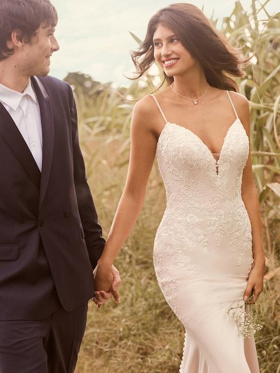 Rebecca Ingram Aubrey Simple Strapless Sheath Bridal Dress 21RN395 Main
