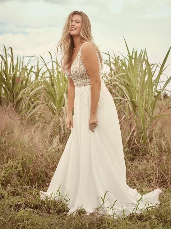Rebecca Ingram Breanne Simple V-neck Chiffon Bridal Gown 21RS384 Alt1