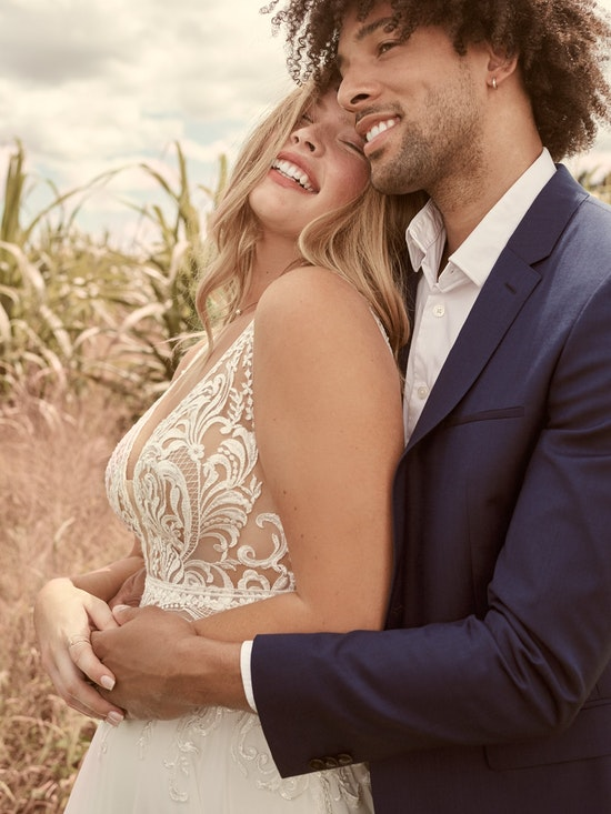 Rebecca Ingram Breanne Simple V-neck Chiffon Bridal Gown 21RS384 Alt2