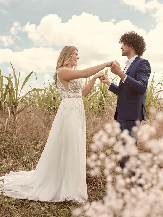 Rebecca Ingram Breanne Simple V-neck Chiffon Bridal Gown 21RS384 Alt4