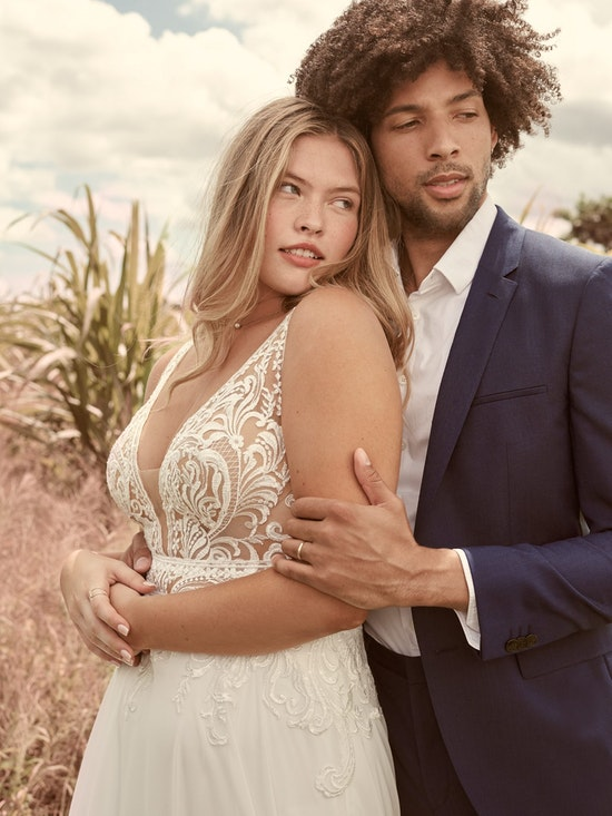 Rebecca Ingram Breanne Simple V-neck Chiffon Bridal Gown 21RS384 Alt5