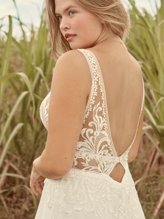 Rebecca Ingram Breanne Simple V-neck Chiffon Bridal Gown 21RS384 Alt6
