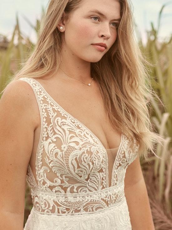 Rebecca Ingram Breanne Simple V-neck Chiffon Bridal Gown 21RS384 Alt7