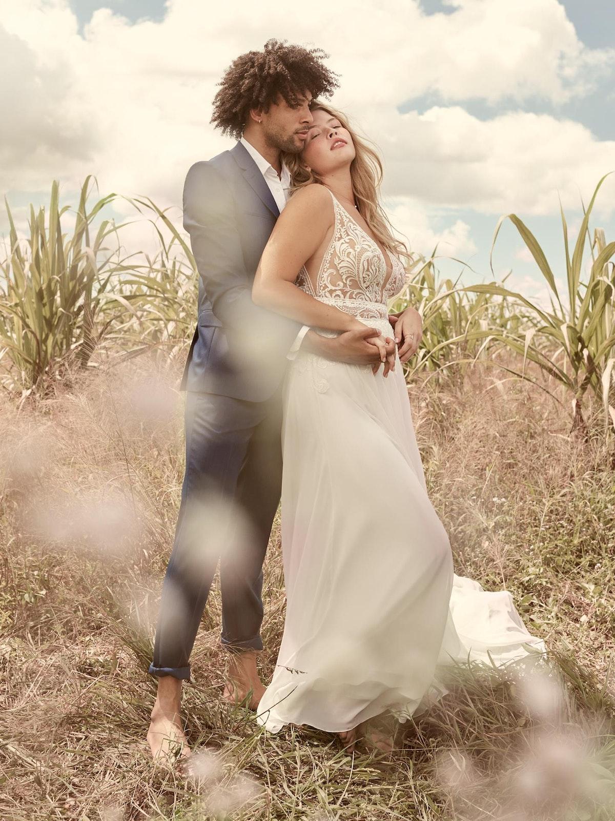 Rebecca Ingram Breanne Simple V-neck Chiffon Bridal Gown 21RS384 Main