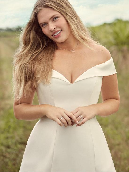 Rebecca Ingram Coral Mikado Off-the-Shoulder A-line Wedding Dress 21RT421 Alt1