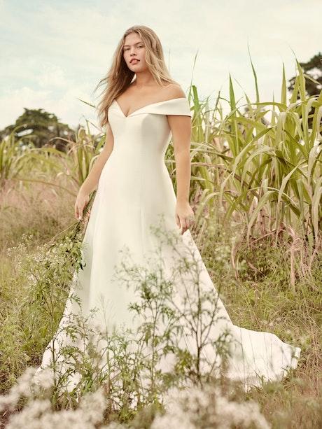 Rebecca Ingram Coral Mikado Off-the-Shoulder A-line Wedding Dress 21RT421 Main