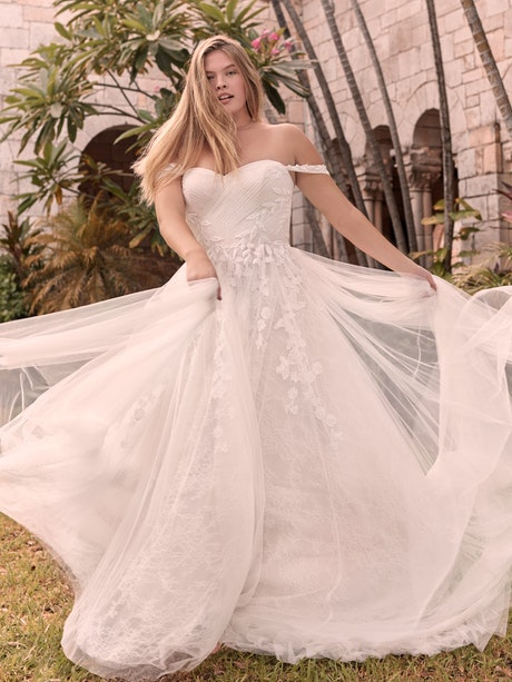 Rebecca Ingram Flora Criss-Cross Ruched Princess Wedding Gown 21RK362 Main
