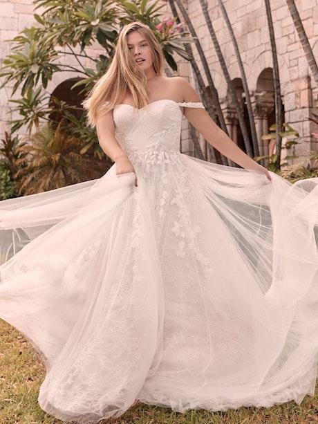 Rebecca Ingram Flora Criss-Cross Ruched Princess Wedding Gown 21RK362 Main
