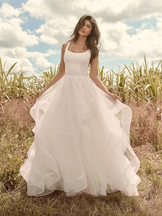 Rebecca Ingram Rosemary Minimalist Tiered Tulle Ball Gown Wedding Dress 21RW379 Alt2