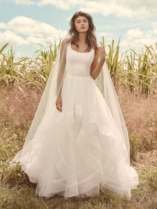 Rebecca Ingram Rosemary Minimalist Tiered Tulle Ball Gown Wedding Dress 21RW379 Alt4