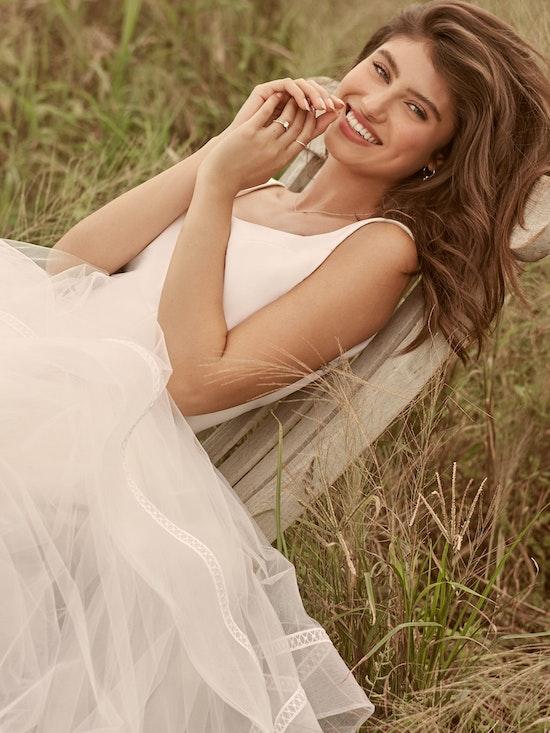 Rebecca Ingram Rosemary Minimalist Tiered Tulle Ball Gown Wedding Dress 21RW379 Alt6
