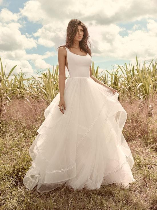 Rebecca Ingram Rosemary Minimalist Tiered Tulle Ball Gown Wedding Dress 21RW379 Alt7